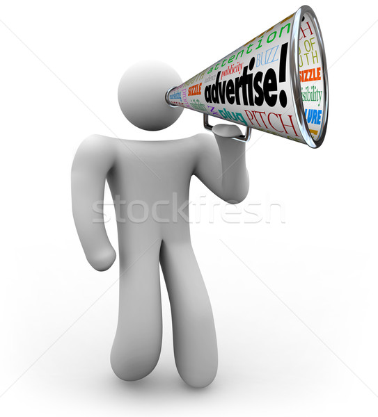 Advertiser with Bullhorn Advertise Word Megaphone Stock photo © iqoncept