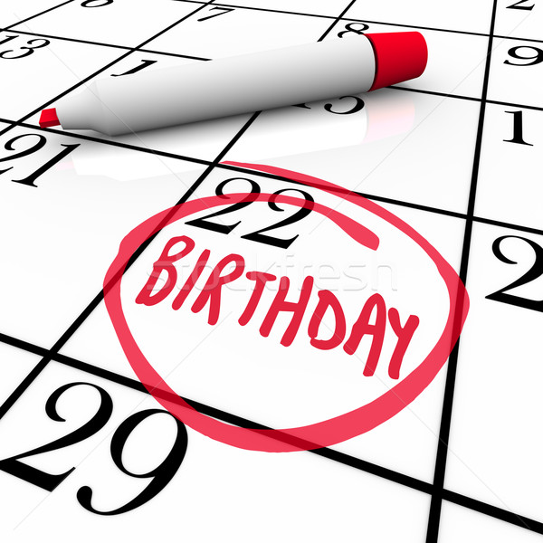 Birthday Calendar Day Circled Date Marker Stock photo © iqoncept