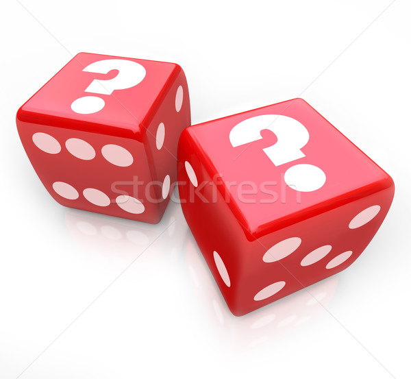Question Marks on Two Red Dice Uncertain Fate Stock photo © iqoncept