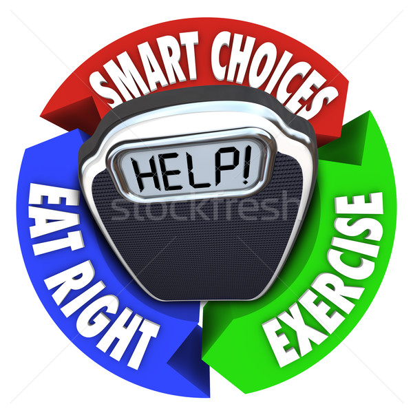 Stock photo: Scale Help Diagram Smart Choices Eat Right Exercise