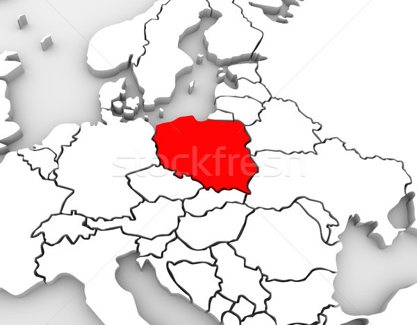 Poland Map Abstract 3D Europe Continent Stock photo © iqoncept