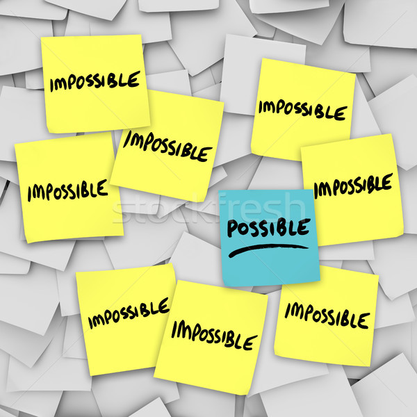 Possible Vs Impossibility Sticky Notes Background Stock photo © iqoncept