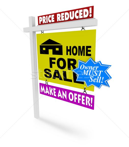 ár otthon vásár felirat néhány kétségbeesés Stock fotó © iqoncept