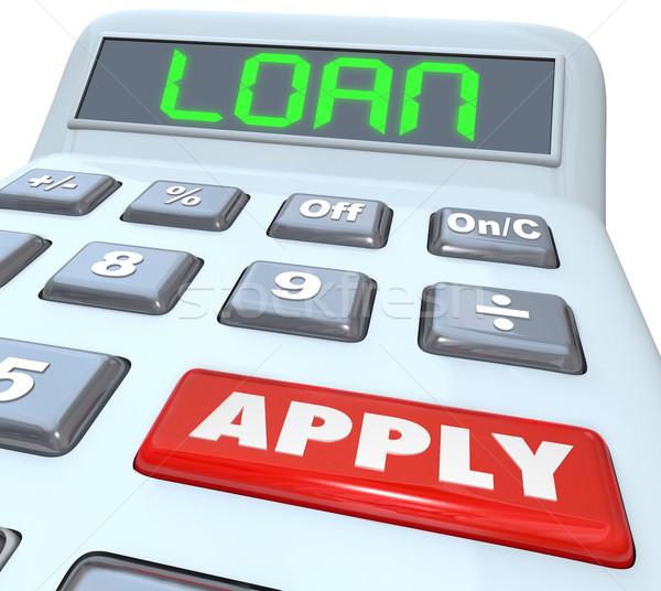 Empréstimo palavra calculadora dinheiro financiamento banco Foto stock © iqoncept