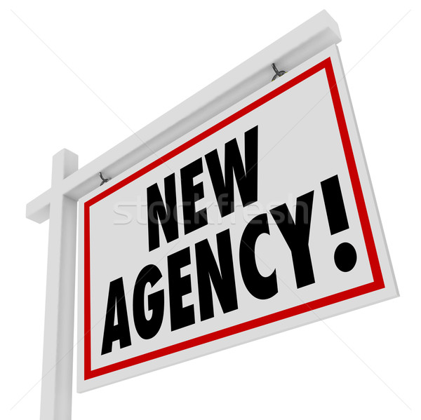 New Agency Words Real Estate Home for Sale Sign Stock photo © iqoncept