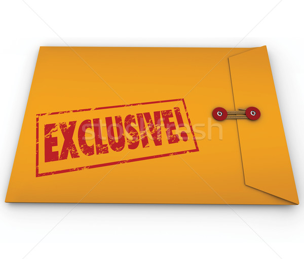 Exclusive Classified Information Content Yellow Envelope Word Stock photo © iqoncept