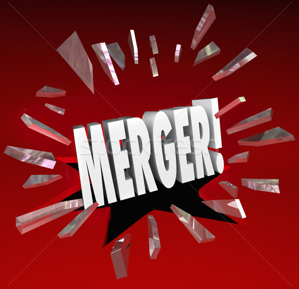 Merger Word Breaking Story Smash Through Glass Big News Update Stock photo © iqoncept