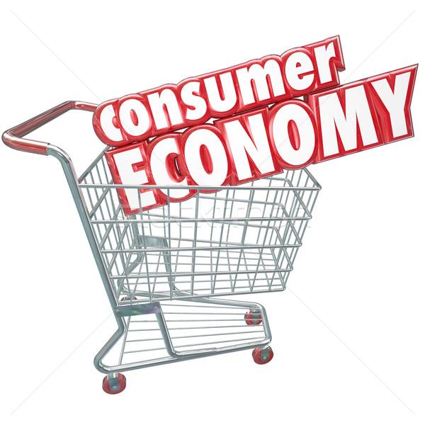 Consument economie winkelwagen kopen goederen klant Stockfoto © iqoncept