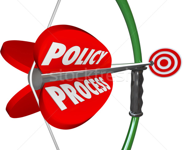 Policy Process Bow Arrow Words Targeting Aiming Full Compliance  Stock photo © iqoncept
