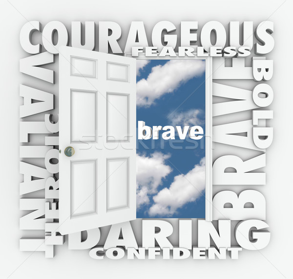 Brave Courage Daring Word Door Open to Success Stock photo © iqoncept