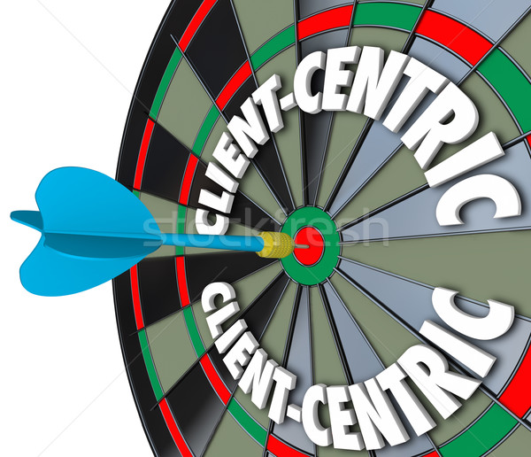 Client-Centric Words Dart Board Targeting Customer Service Stock photo © iqoncept