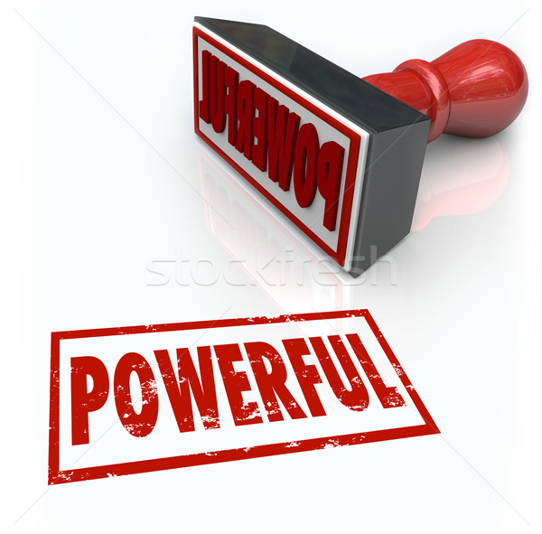 Powerful Stamp Word Strong Intese Forceful Quality Stock photo © iqoncept