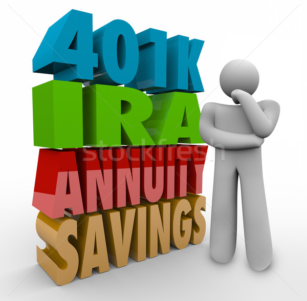 401K IRA Annunity Savings Investment Options Thinking Person Con Stock photo © iqoncept
