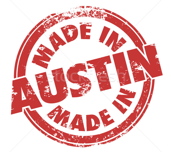Made in Austin Texas Round Red Ink Grunge Stamp Proud Origin Stock photo © iqoncept