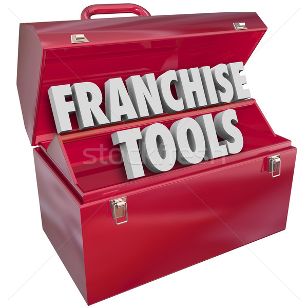 Franchise Tools 3d Words Toolbox Start New Licensed Business Stock photo © iqoncept