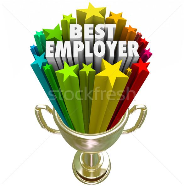 Meilleur employeur or trophée haut travail Photo stock © iqoncept
