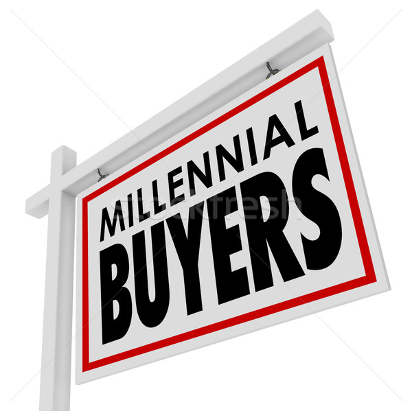 Stock photo: Millennial Buyers Words Home for Sale House Real Estate Sign