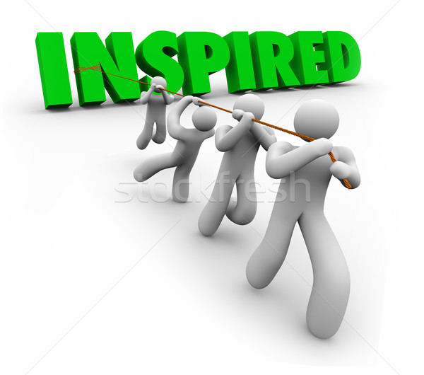 Inspired Motivated Team Working Together Following Leader Achiev Stock photo © iqoncept