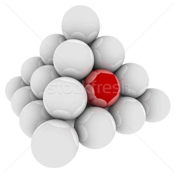 Red Ball Unique Different Special Pyramid Standing Out Stock photo © iqoncept