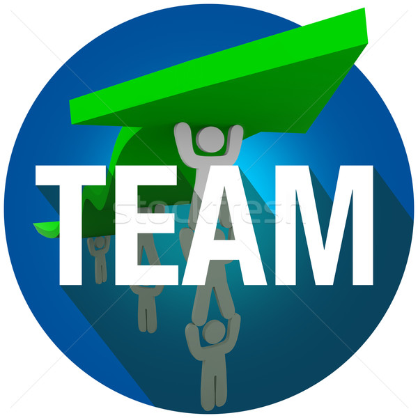 Team Word Long Shadow People Working Together Lift Arrow Circle  Stock photo © iqoncept