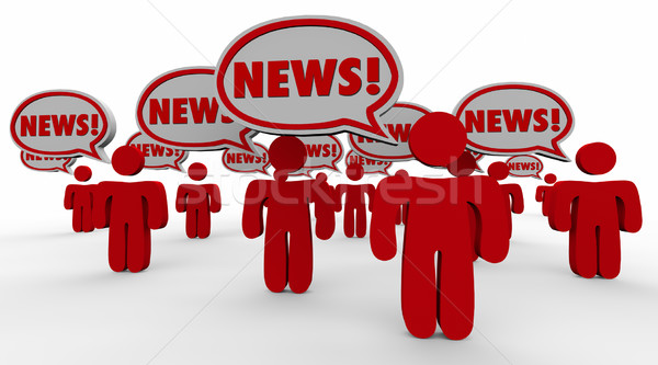 Breaking News People Speech Bubbles Sharing Updates Words Stock photo © iqoncept