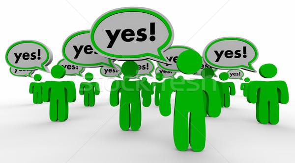 Tak odpowiedź ludzi klientela słowo Zdjęcia stock © iqoncept
