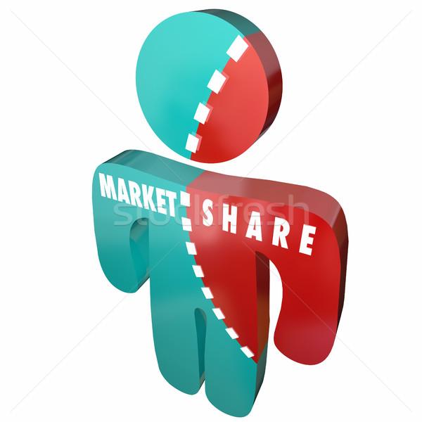 Markt percentage klanten 3D 3d illustration Stockfoto © iqoncept