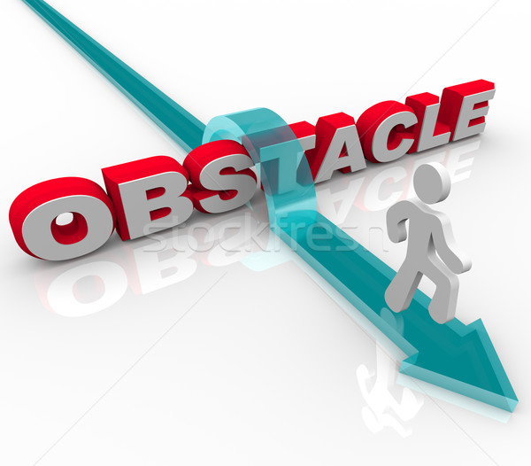 Obstacle - Man Jumping Over Word on Arrow Stock photo © iqoncept