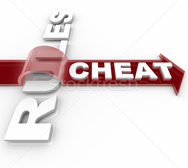 Cheating and Jumping Over the Rules - Word on Arrow Stock photo © iqoncept