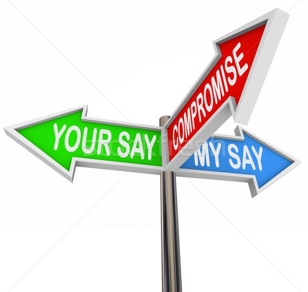 Compromis différences accord trois coloré flèche Photo stock © iqoncept