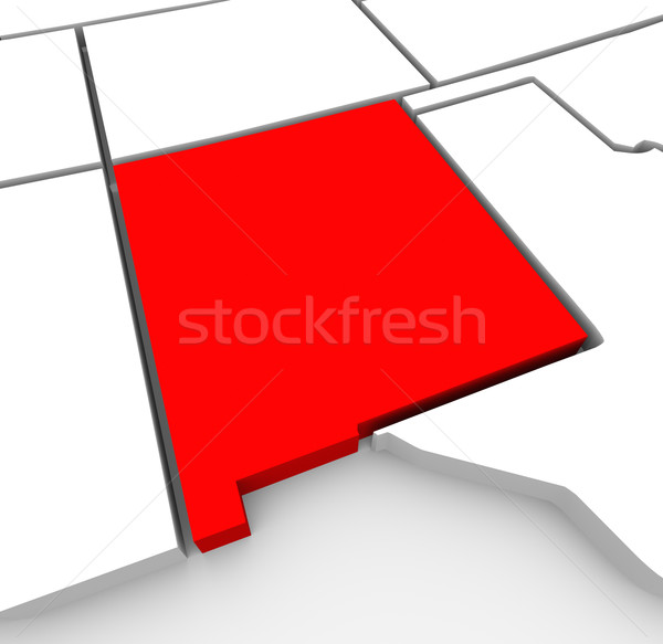 New Mexico Red Abstract 3D State Map United States America Stock photo © iqoncept