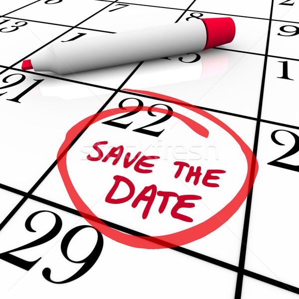 Guardar fecha palabras calendario rojo marcador Foto stock © iqoncept