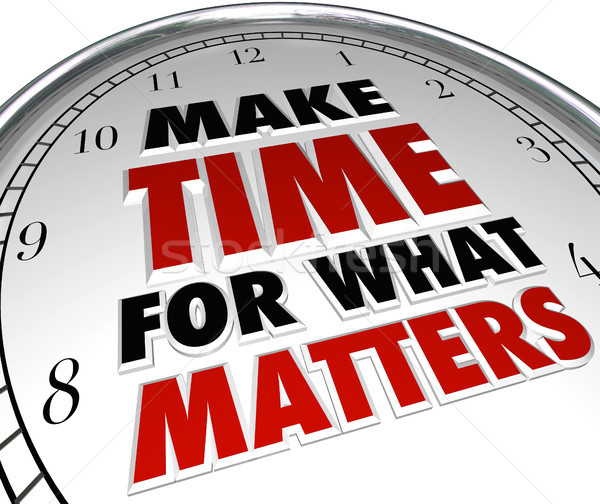 Make Time for What Matters Words on Clock Stock photo © iqoncept