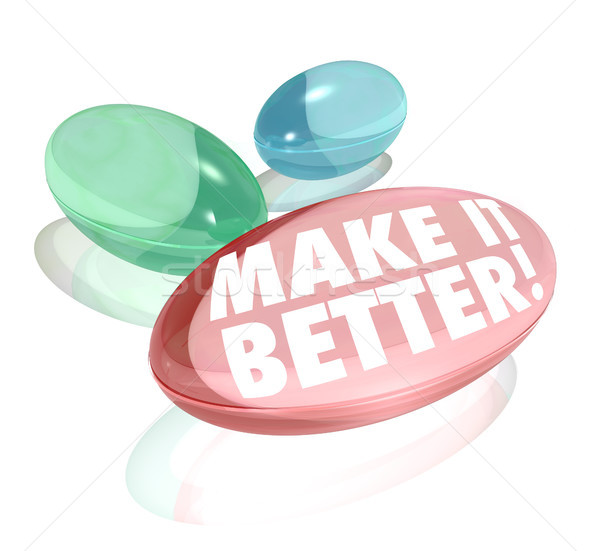 Make It Better Vitamin Pill Supplements Improve Increase Results Stok fotoğraf © iqoncept