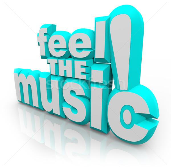 Muziek 3D woorden luisteren lied dans Stockfoto © iqoncept