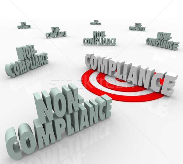 Compliance Vs Non Compliant Words Targeting Goal Stock photo © iqoncept