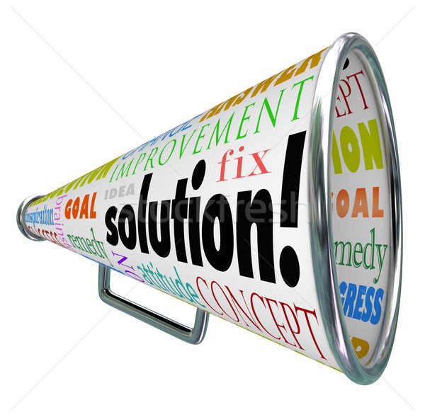 Stock photo: Solution Megaphone Bullhorn Spreading Answer to Problem