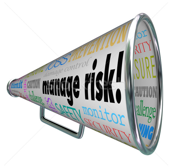 Manage Risk Bullhorn Megaphone Limit Loss Liability Compliance Stock photo © iqoncept