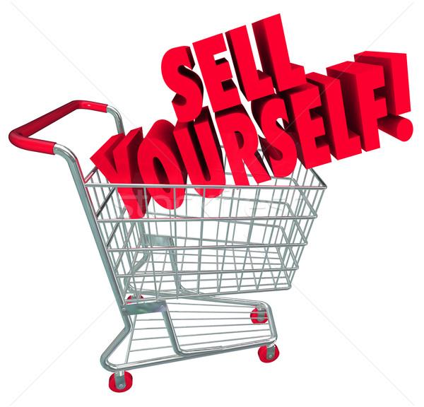 Sprzedać siebie koszyk rynku umiejętności słowa Zdjęcia stock © iqoncept