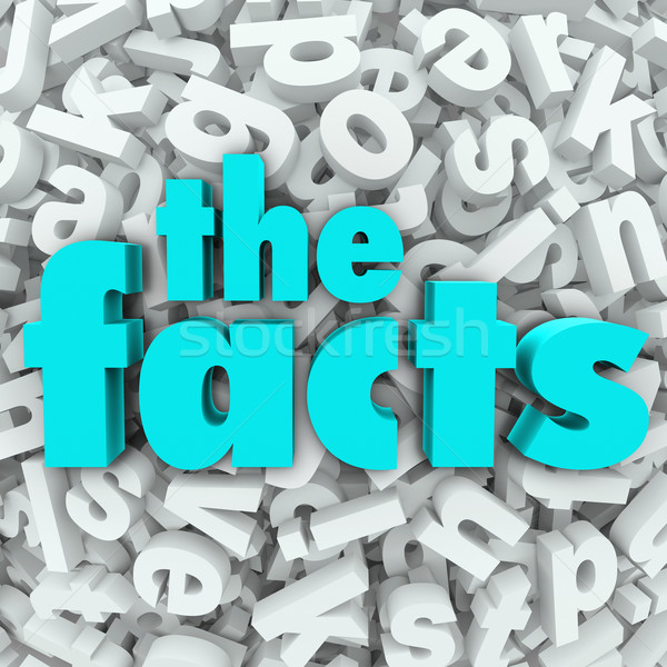 The Facts 3D Words Background Information Real Data Stock photo © iqoncept