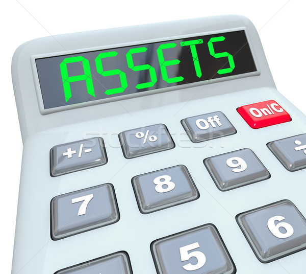 Assets Word Calculator Adding Financial Investments Money Wealth Stock photo © iqoncept