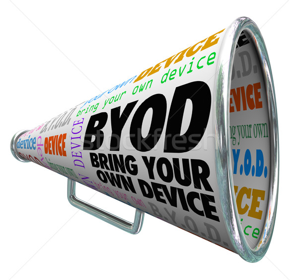 BYOD Bullhorn Megaphone Bring Your Own Device Company Policy Stock photo © iqoncept