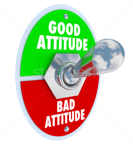 Stock photo: Good Vs Bad Attitude Toggle Switch Choose Positive Outlook