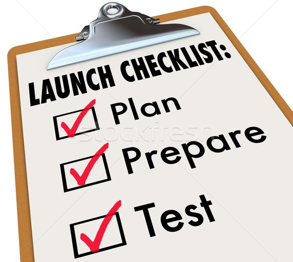 Liste plan test nouvelle produit Photo stock © iqoncept