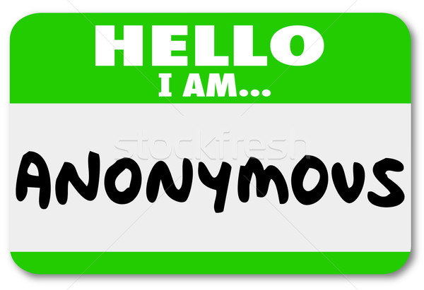 Anonymous Unnamed Name Tag Classified Secret Identity Stock photo © iqoncept