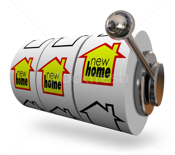 New Home Words Slot Machine Wheels Finding Perfect House Moving Stock photo © iqoncept