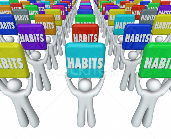 People Holding Habits Words Successful Routines Achieve Goals Stock photo © iqoncept
