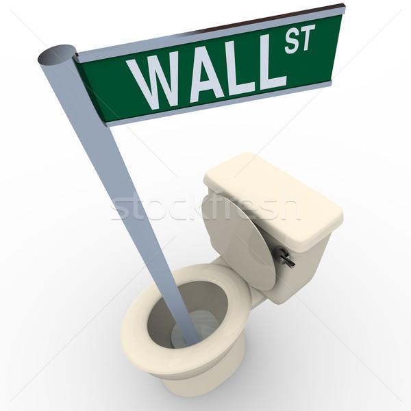 Wall Street teken beneden toilet achtergrond financiële Stockfoto © iqoncept