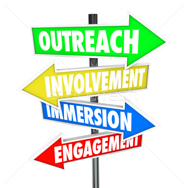 Outreach Involvement Immersion Engagement Participation Signs Stock photo © iqoncept