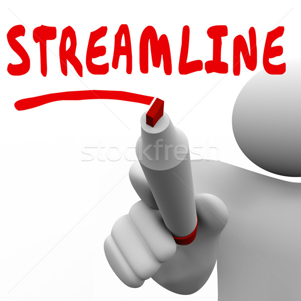 Streamline Word Man Writing Improve Efficiency Productivity Stock photo © iqoncept